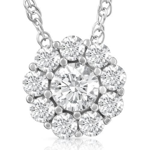 5/8ct Diamond Halo Pendant 10K White Gold Womens Necklace (H-I, I1)