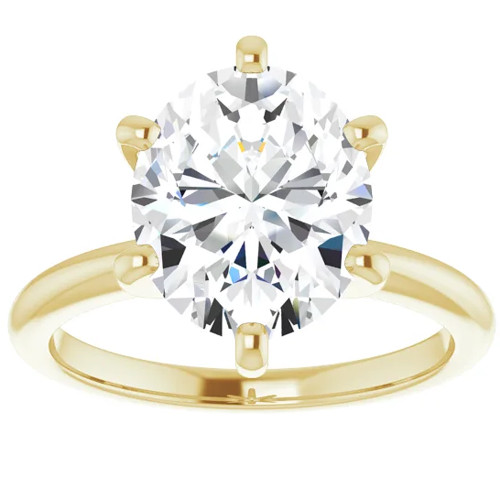 3 Ct Oval Moissanite Solitaire Engagement Ring 14k Yellow Gold (H/I, VVS1)