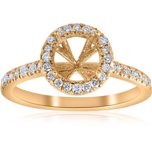 .36ct Halo Diamond Engagement Semi Mount 14k Yellow Gold Ring Setting (I, VS)