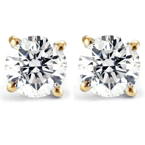 Certified 1/2 Ct T.W. Diamond Studs 14k Yellow Gold Earrings (K-L, I2-I3)