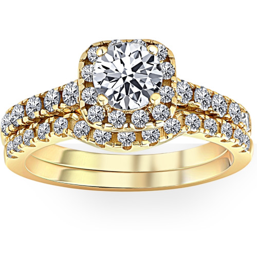 1 Ct Diamond Cushion Halo Engagement Wedding Ring Set 10k Yellow Gold (H/I, I1-I2)