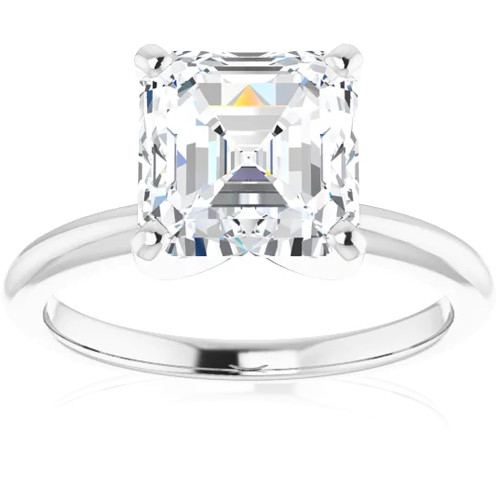 3Ct Asscher Solitaire Moissanite Engagement Ring in White Yellow or Rose Gold