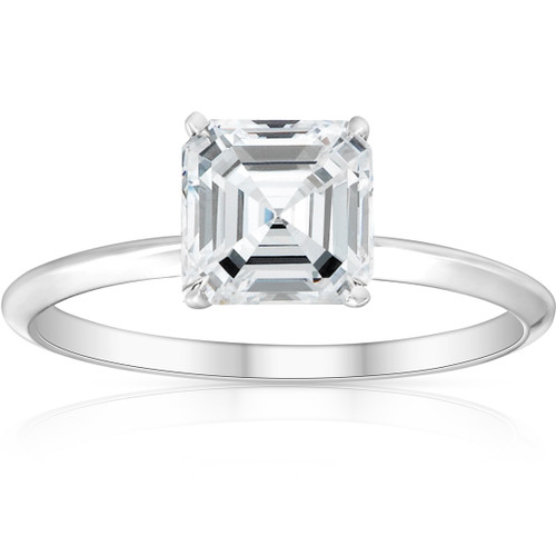 2Ct Asscher Solitaire Moissanite Engagement Ring in White Yellow or Rose Gold