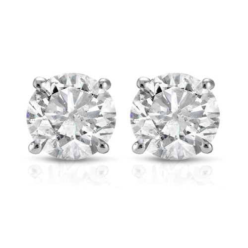 1 Ct Solitaire Certified Diamond Stud Earrings Round Brilliant 4Prong Push Back (O-P, I2-I3)