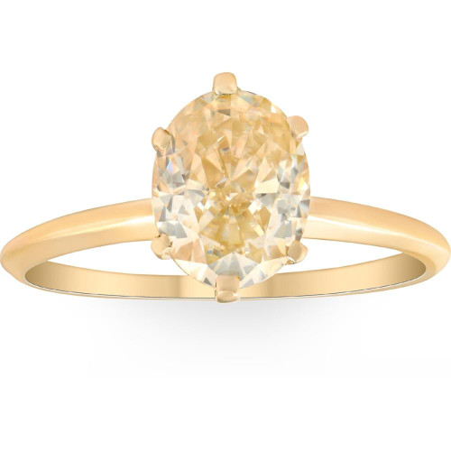 2Ct Fancy Yellow Oval Solitaire Moissanite Engagement Ring 14k Yellow Gold