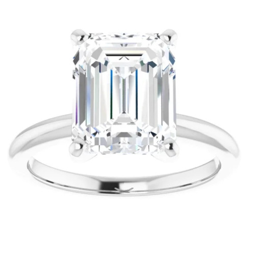 4Ct Emerald Solitaire Moissanite Engagement Ring in White Yellow or Rose Gold