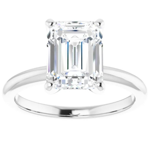 3Ct Emerald Solitaire Moissanite Engagement Ring in White Yellow or Rose Gold