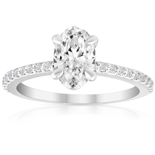 1 1/2 Ct Diamond & Oval Moissanite Engagement Ring 10k White Gold (G/H, VS1-VS2)
