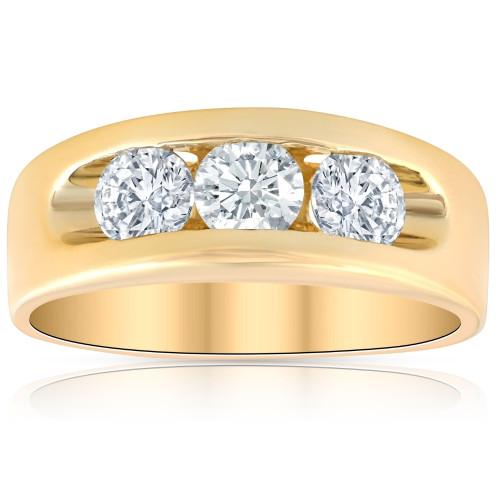 2Ct Diamond Mens Three Stone Ring 10k Yellow Gold (H, I1-I2)