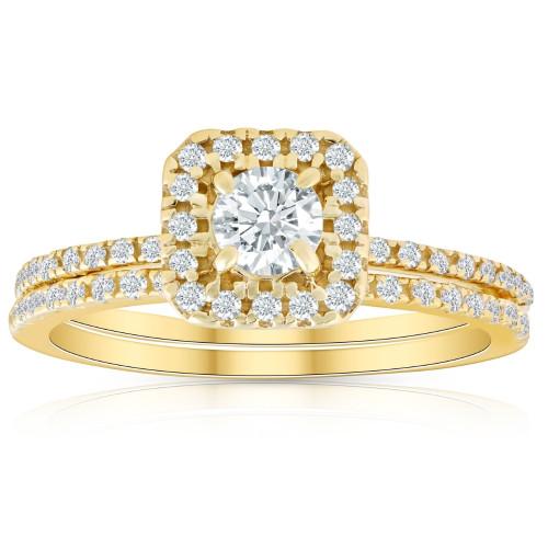 5/8 Ct TDW Diamond Cushion Halo Engagement Wedding Ring Set Yellow Gold (H/I, I1-I2)