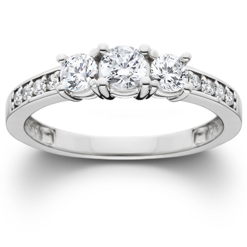 Platinum 1Ct Lab Grown Diamond Three Stone Engagement Ring (((G-H)), SI(1)-SI(2))