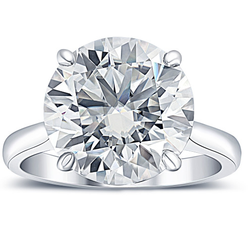 6 Ct Moissanite Solitaire Engagement Ring 10k White Gold (12mm stone)
