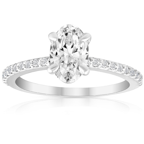 1 1/2 Ct Oval Lab Grown Diamond Engagement Ring 14k White Gold With Sidestones (H/I, VS2-SI1)