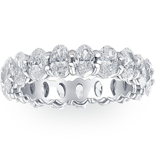6 1/2 Ct Oval Lab Grown Diamond Eternity Ring Womens Wedding Band White Gold (((G-H)), SI(1)-SI(2))
