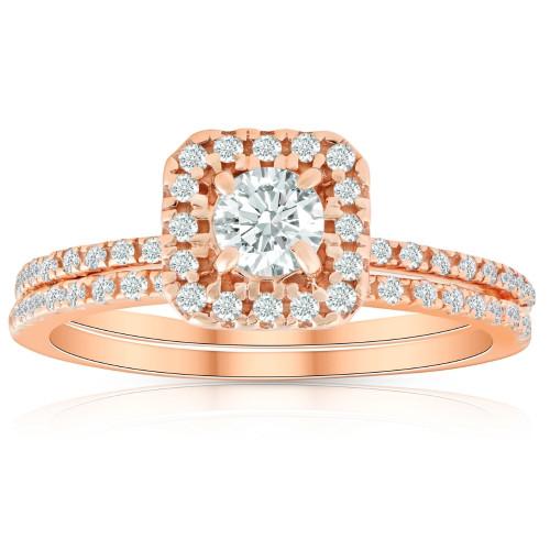 5/8 Ct TDW Diamond Cushion Halo Engagement Wedding Ring Set Rose Gold (H/I, I1-I2)