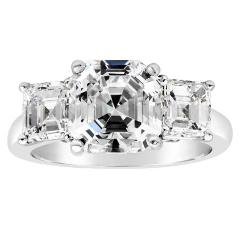 3 3/4 Ct Three Stone Asscher Cut Moissanite Engagement Ring 14k White Gold (G/H, VS1-VS2)