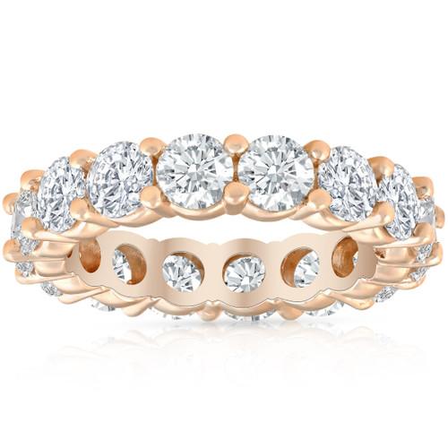 4Ct Diamond Eternity Wedding Ring Lab Grown Diamond 14k Rose Gold (((G-H)), SI(2)-I(1))