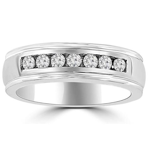 Platinum 5/8 Ct Mens Diamond Brushed Wedding Ring (G/H, I1-I2)