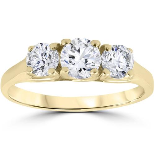 1 Ct Three Stone Lab Grown Diamond Engagement Ring 14k Yellow Gold (HI/SI2-I1) ((H-I), SI(2)-I(1))