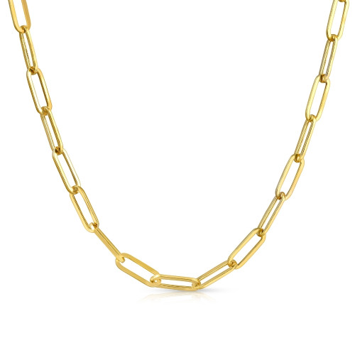 """Solid 14k Yellow Gold 18"""" Clip Chain Necklace"""