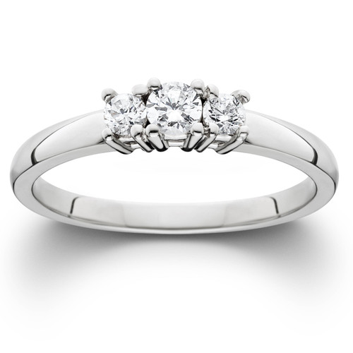 1/4 Ct Three Stone Lab Grown Diamond Engagement Ring 10k White Gold (((G-H)), SI(2)-I(1))