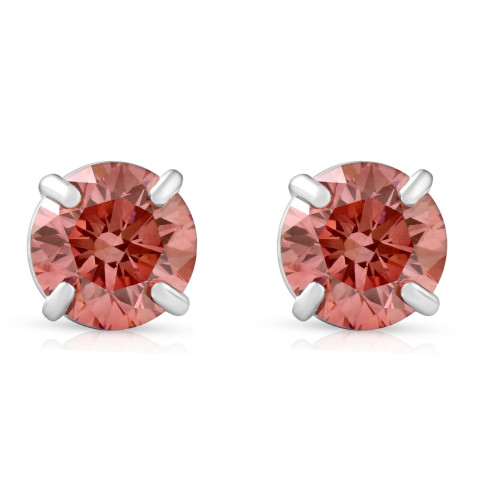 3/8Ct Pink Lab Grown Diamond Screw Back Studs Earrings 14K White Gold (Pink, SI(2)-I(1))