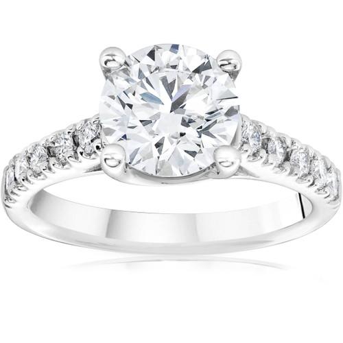 2 1/2 Ct Diamond Engagement Ring Lab Grown 14k White Gold (I/J, VS1-VS2)