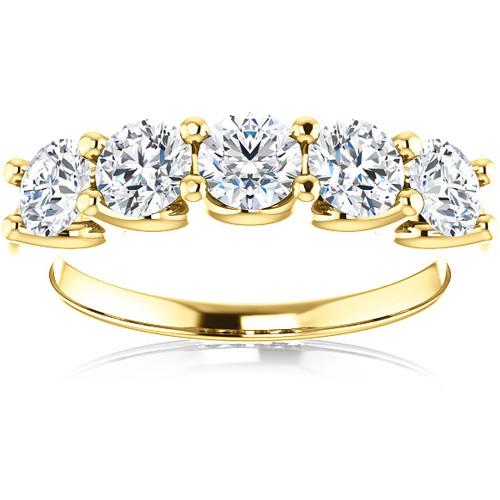 2 Ct Diamond Five Stone Wedding Ring 14k Yellow Gold EX3 Lab Grown (G/H, VS2-SI1)