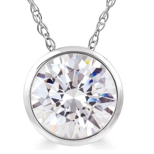 1 Ct Solitaire Certified Lab Grown Diamond Pendant Necklace White or Yellow Gold (K-L, SI(2)-I(1))