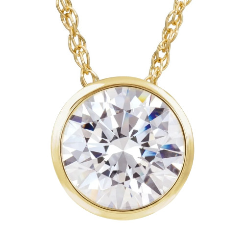 VS 1 Ct Solitaire Lab Grown Diamond Pendant Necklace in 14k White or Yellow Gold (H-I, VS2)