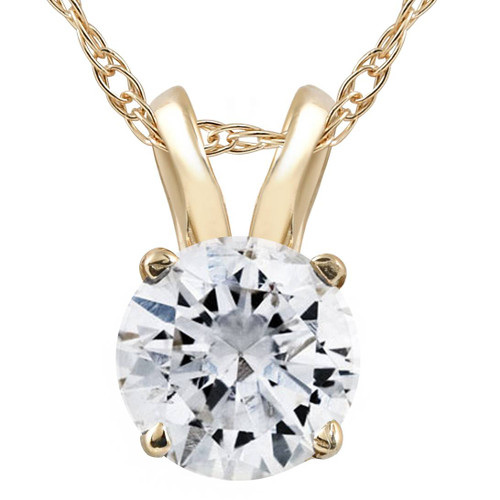 1 1/4Ct Lab Grown Solitaire Diamond Pendant Yellow Gold Necklace (G-H, VS2)