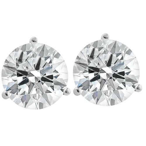 4 1/2 Ct Lab Grown Diamond Martini Screw Back Studs 14k White Gold (I/J, VS2)