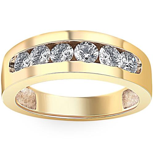 1Ct Diamond Channel Set Wedding Band Mens Ring 14k Yellow Gold Lab Grown (G/H, VS2-SI1)