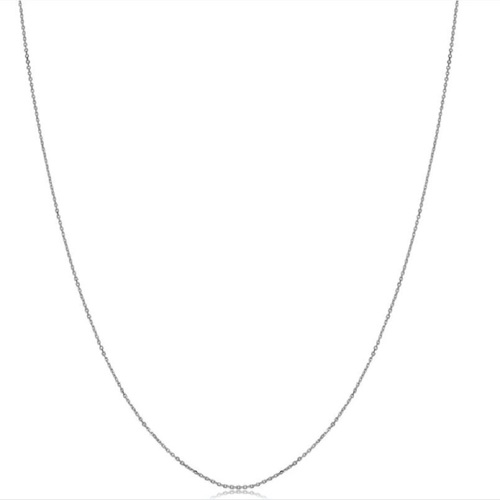 14k White Gold Diamond-cut Cable Chain (18 inches)