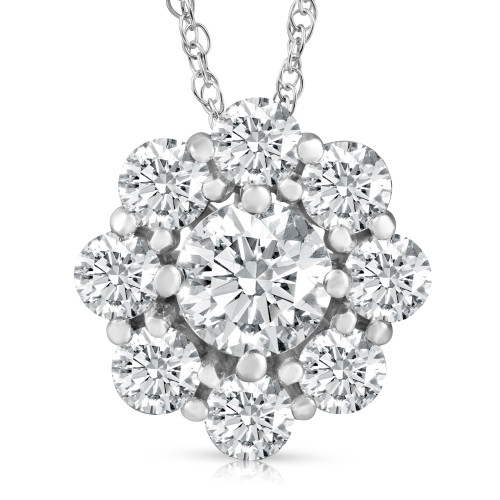 2 1/2Ct Certified Lab Grown Diamond Halo Pendant 14k White Gold Necklace (((G-H)), SI(2)-I(1))