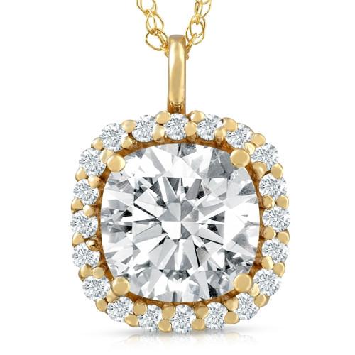 3 5/8 Ct Cushion Moissanite & Lab Grown Diamond Halo Pendant 14k Gold Necklace (E/F, VS1)