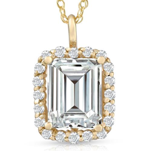 3 1/2 Ct Emerald Moissanite & Lab Grown Diamond Halo Pendant 14k Gold Necklace (E/F, VS1)