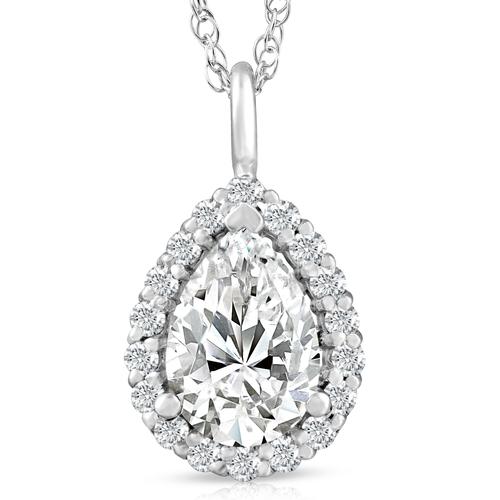 2 1/6 Pear Shape Moissanite & Lab Grown Diamond Halo Pendant 14k Gold Necklace (E/F, VS1)