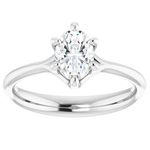 3/4Ct Oval Solitaire Diamond Engagement Ring Lab Grown 14k White or Yellow Gold (H/I, VS1-VS2)