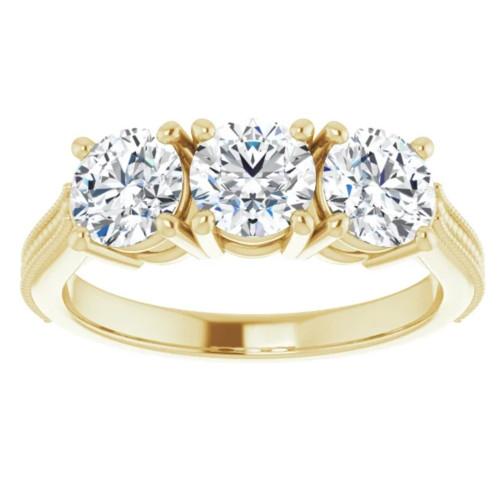 1 1/2 Ct Three Stone Lab Grown Diamond Engagement Anniversary Ring Yellow Gold (((G-H)), VS1-VS2)