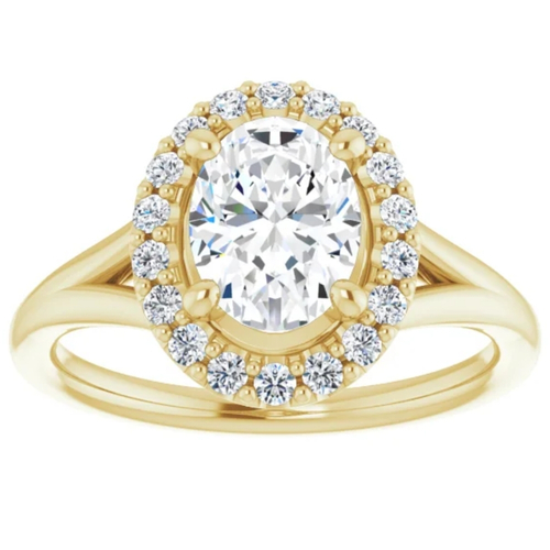 1 1/4Ct Oval Diamond Engagement Ring 14k Yellow Gold Halo Band Enhanced (G/H, SI1-SI2)