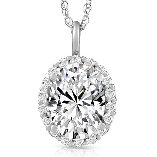 3 Ct Oval Moissanite & Lab Grown Diamond Halo Pendant 14k Gold Necklace (E/F, VS1)