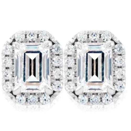 3/4 Ct Emerald Moissanite & Lab Grown Diamond Halo Studs 14k White Gold Earrings (GH, VS)
