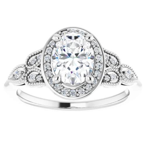 1 1/3 Ct Oval Diamond Vintage Halo Engagement Ring 14k White Gold Lab Grown (G/H, VS1-VS2)