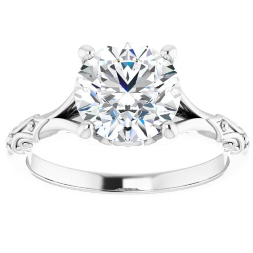 3Ct Moissanite Vintage Engagement Solitaire Ring 14k White Yellow or Rose Gold