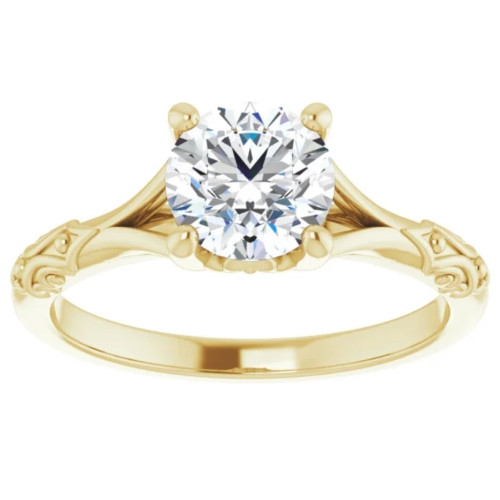 1 Ct Solitaire Diamond Engagement Ring 14k Yellow Gold Clarity Enhanced (G/H, SI1-SI2)