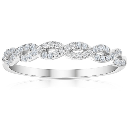 1/4 Carat (ctw) Round White Diamond Ladies Swirl Wedding Ring 10k White Gold (H/I, I1-I2)