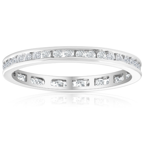 1/2 Ct Round Diamond Ladies Eternity Wedding Ring 10k White Gold (H/I, I1-I2)