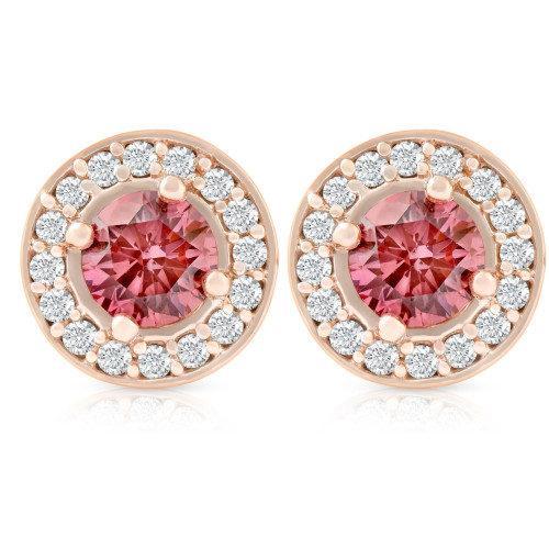 1/2Ct Lab Grown Pink Diamond Halo Screw Back Studs Rose Gold Earrings (GH, I1)