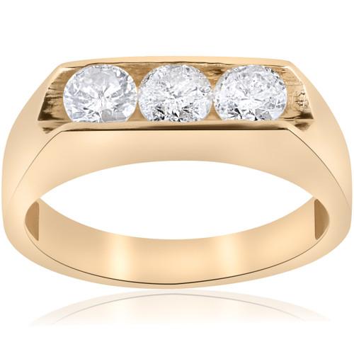 1 1/2ct Lab Grown Diamond Three Stone Mens Wedding Ring 10K Yellow Gold (G/H, VS2-SI1)
